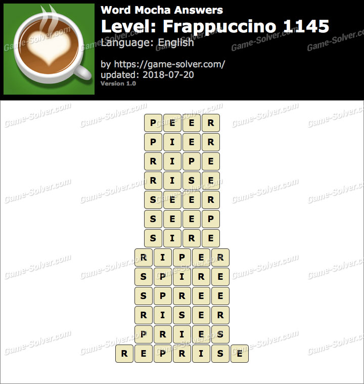 Word Mocha Frappuccino 1145 Answers