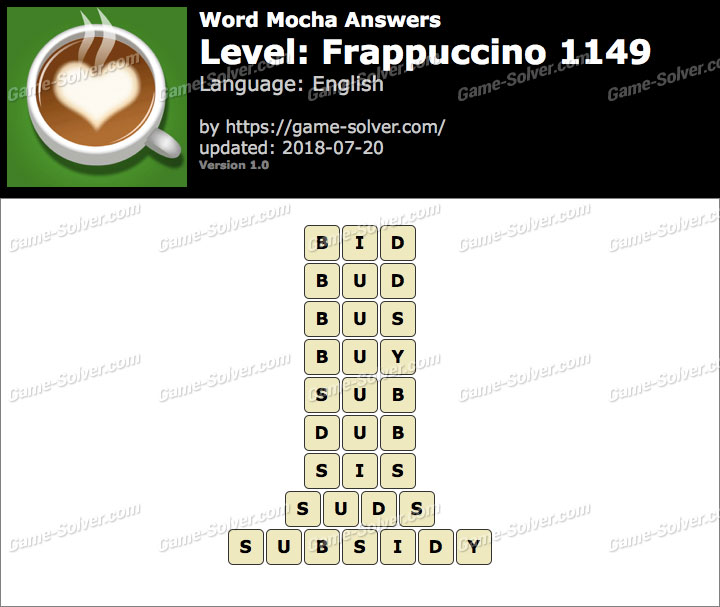 Word Mocha Frappuccino 1149 Answers