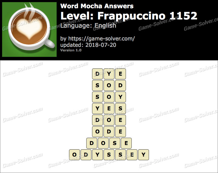 Word Mocha Frappuccino 1152 Answers