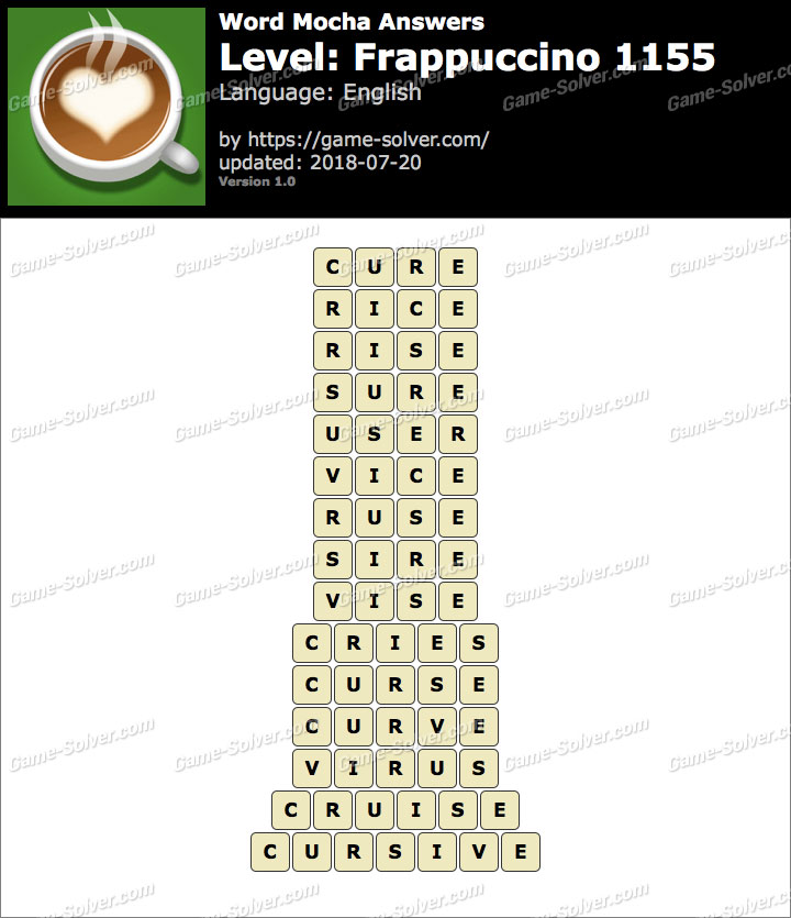 Word Mocha Frappuccino 1155 Answers
