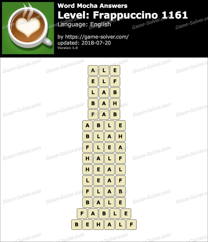 Word Mocha Frappuccino 1161 Answers