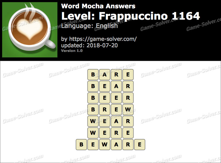 Word Mocha Frappuccino 1164 Answers