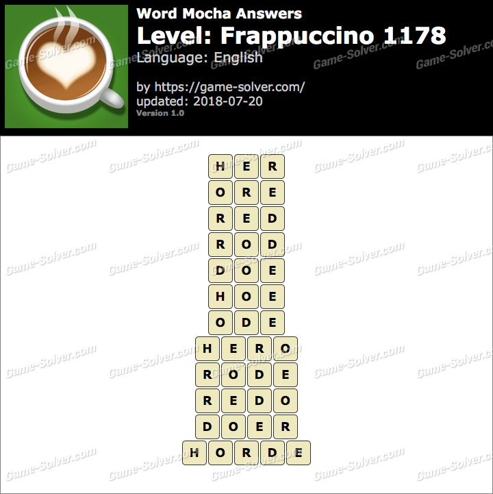 Word Mocha Frappuccino 1178 Answers