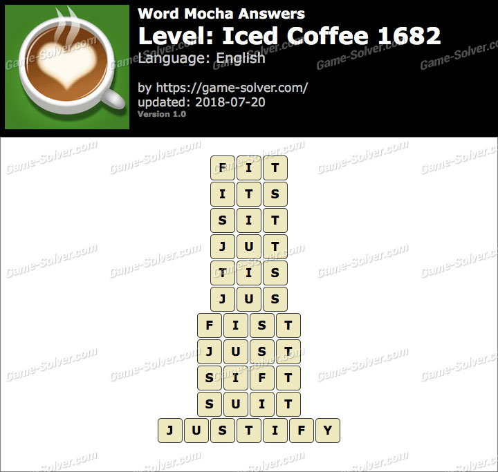 Word Mocha Iced Coffee 1682 Answers Game Solver