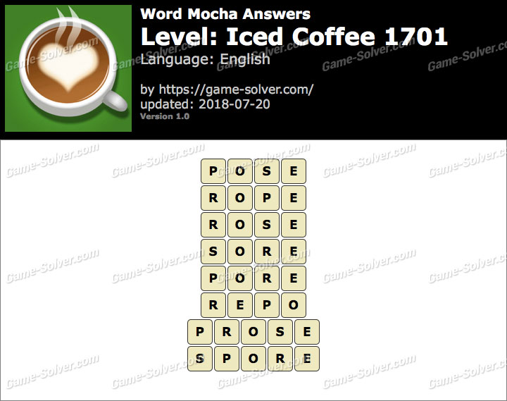 Word Mocha Iced Coffee 1701 Answers