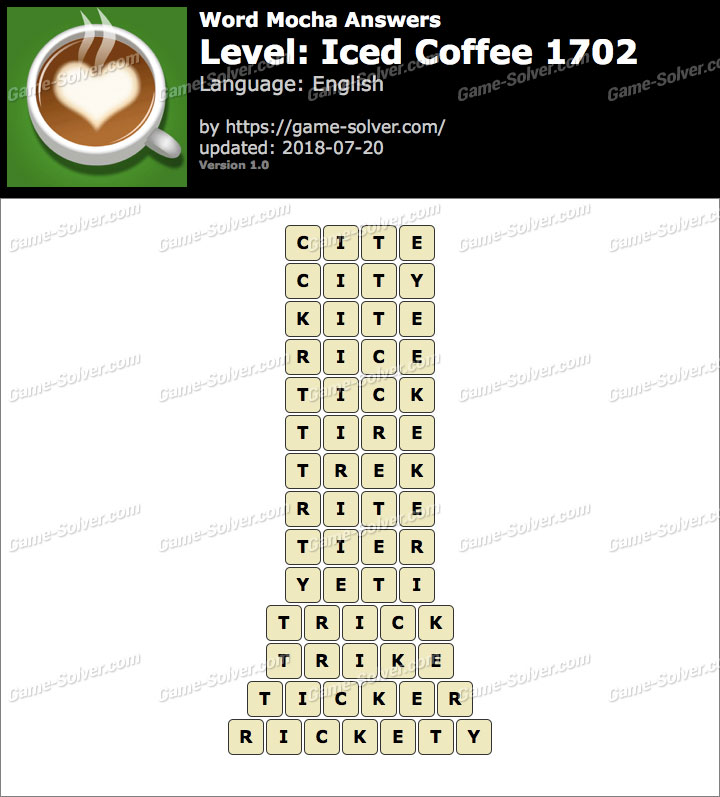 Word Mocha Iced Coffee 1702 Answers
