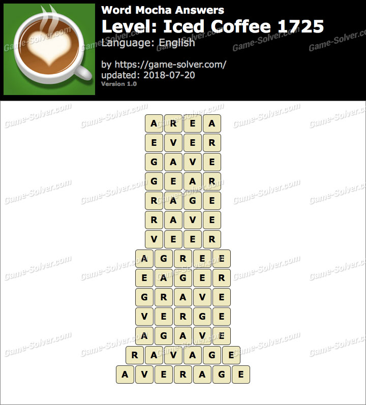 Word Mocha Iced Coffee 1725 Answers
