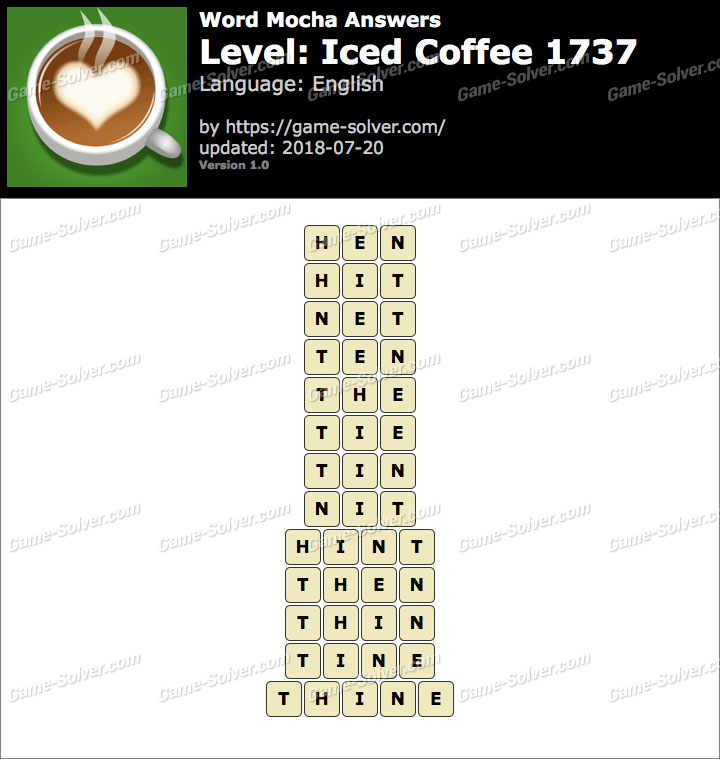 Word Mocha Iced Coffee 1737 Answers