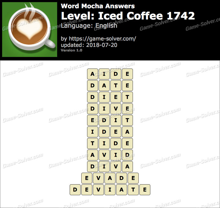 Word Mocha Iced Coffee 1742 Answers