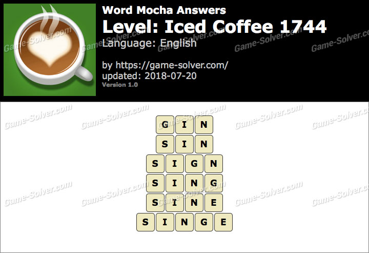 Word Mocha Iced Coffee 1744 Answers