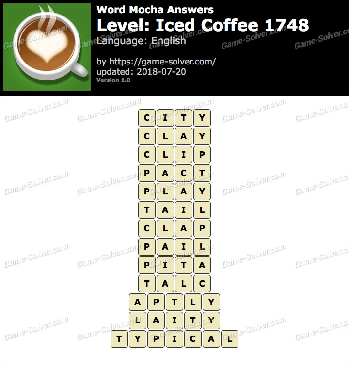 Word Mocha Iced Coffee 1748 Answers