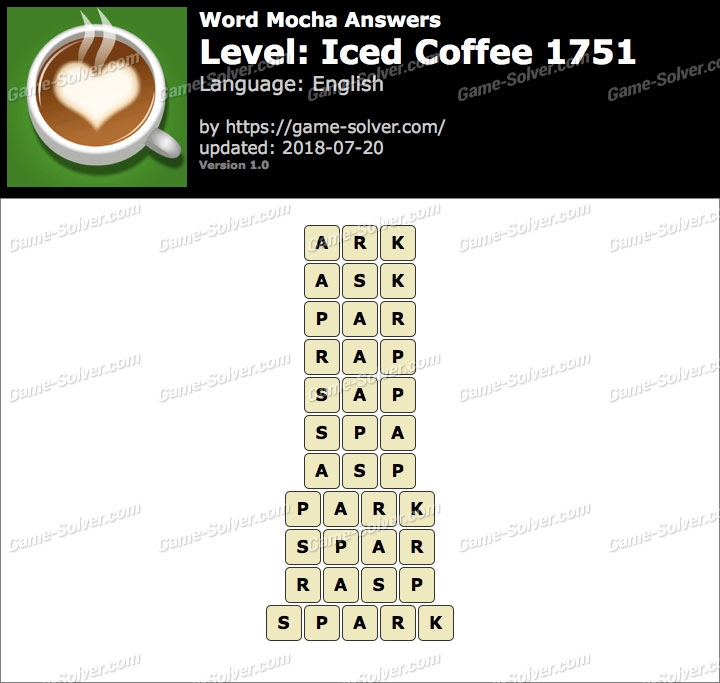 Word Mocha Iced Coffee 1751 Answers