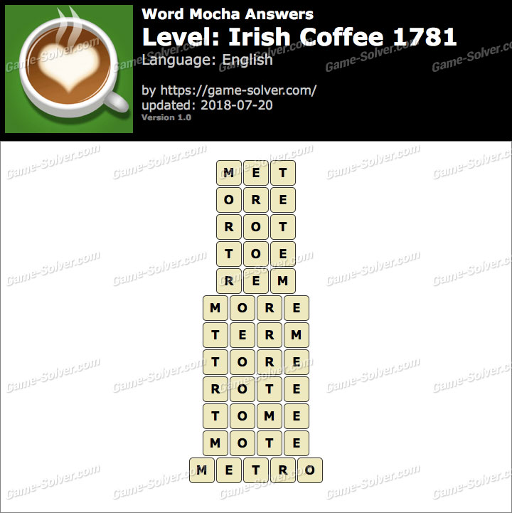 Word Mocha Irish Coffee 1781 Answers