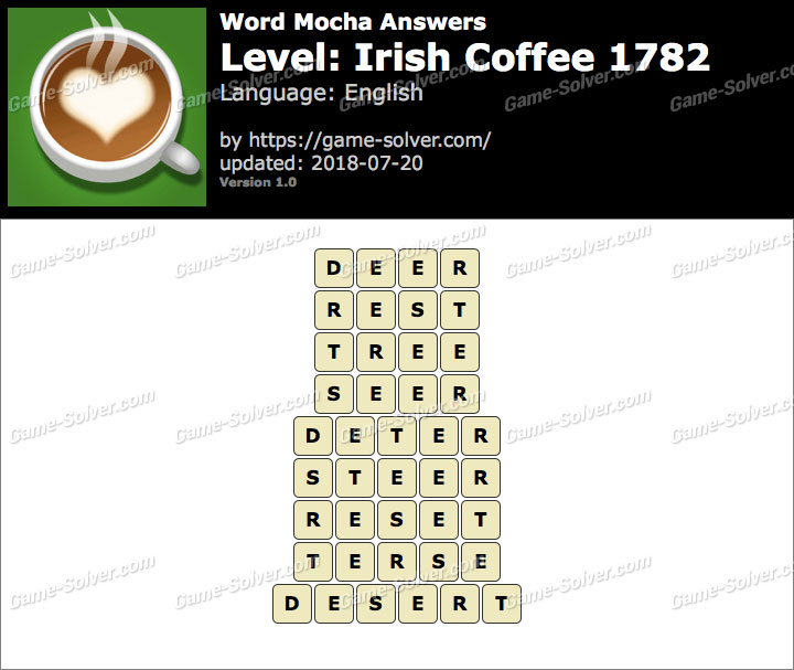 Word Mocha Irish Coffee 1782 Answers