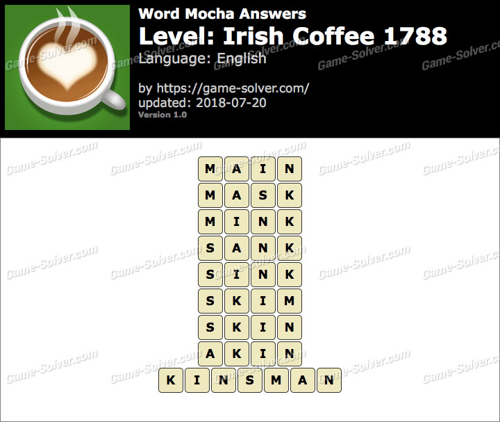 Word Mocha Irish Coffee 1788 Answers