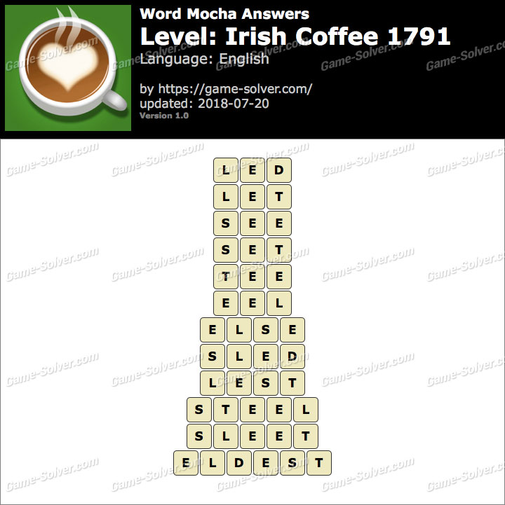 Word Mocha Irish Coffee 1791 Answers