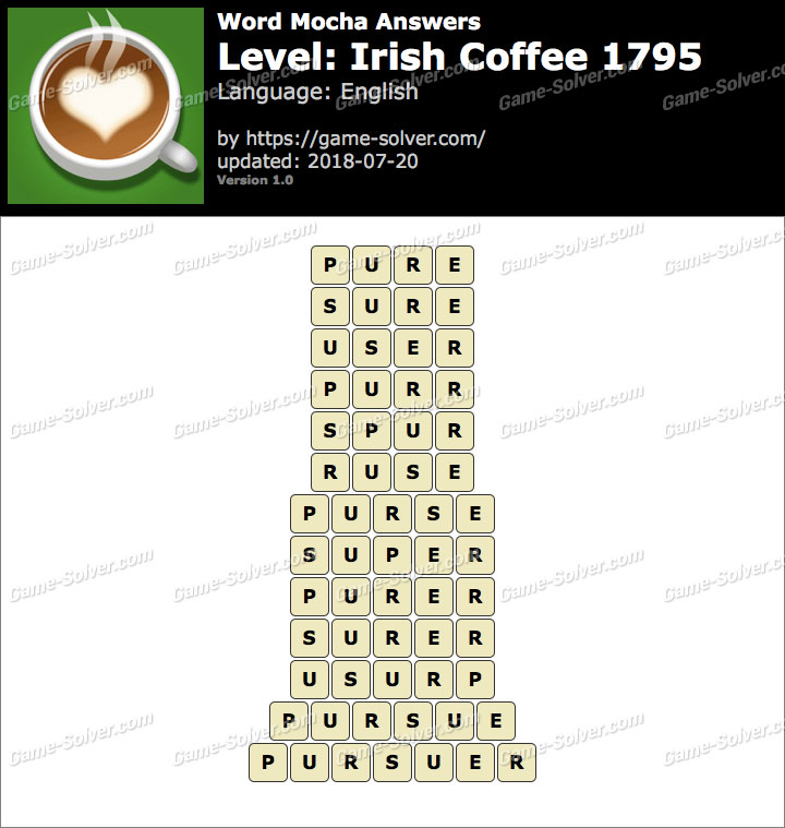 Word Mocha Irish Coffee 1795 Answers