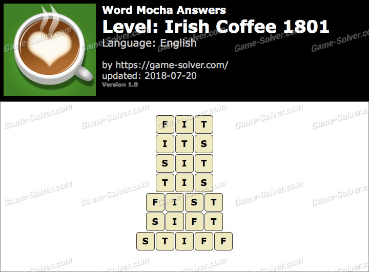 Word Mocha Irish Coffee 1801 Answers