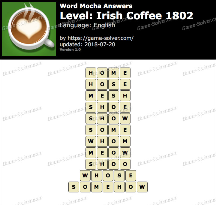 Word Mocha Irish Coffee 1802 Answers