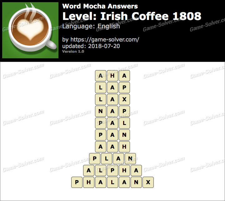 Word Mocha Irish Coffee 1808 Answers
