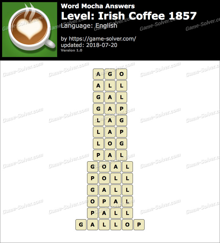 Word Mocha Irish Coffee 1857 Answers