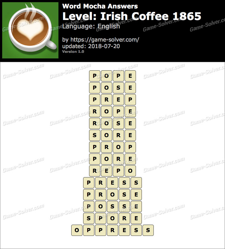 Word Mocha Irish Coffee 1865 Answers