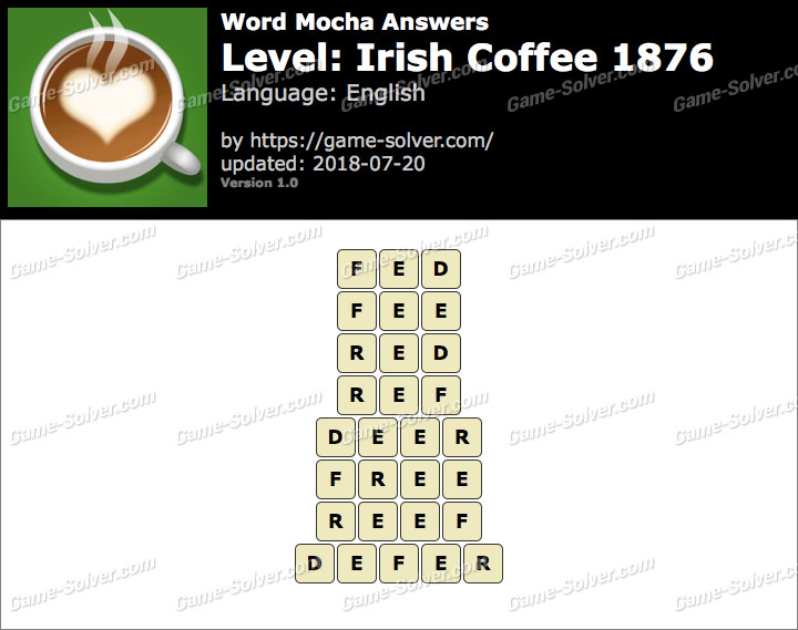 Word Mocha Irish Coffee 1876 Answers