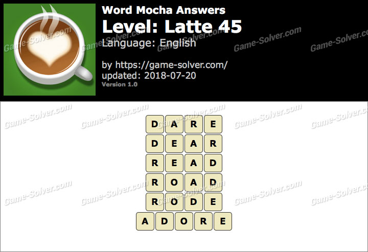 Word Mocha Latte 45 Answers