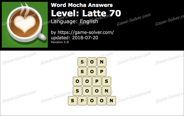 Word Mocha Latte 70 Answers