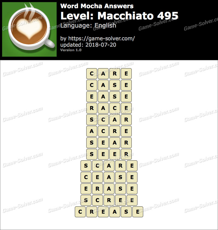 Word Mocha Macchiato 495 Answers