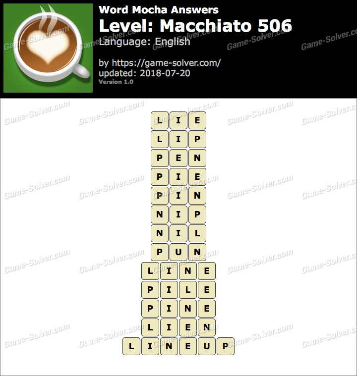 Word Mocha Macchiato 506 Answers