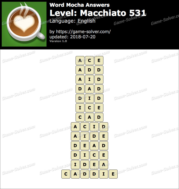 Word Mocha Macchiato 531 Answers