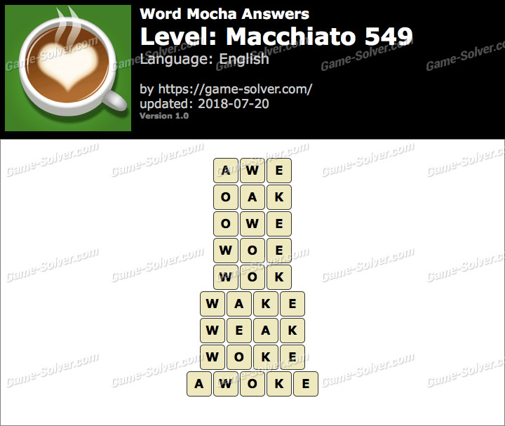 Word Mocha Macchiato 549 Answers