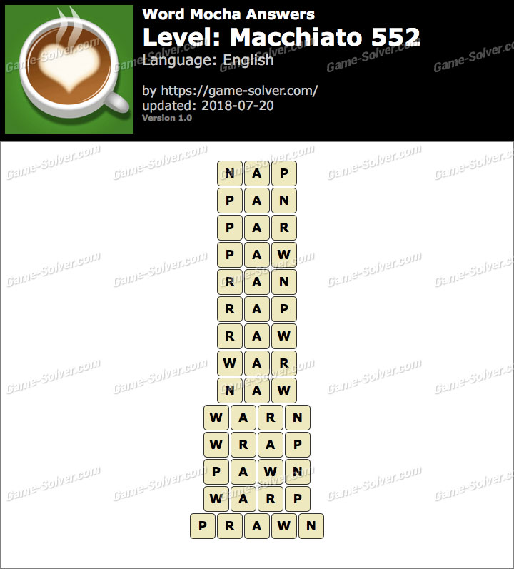 Word Mocha Macchiato 552 Answers
