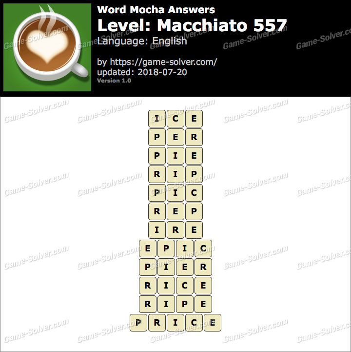 Word Mocha Macchiato 557 Answers