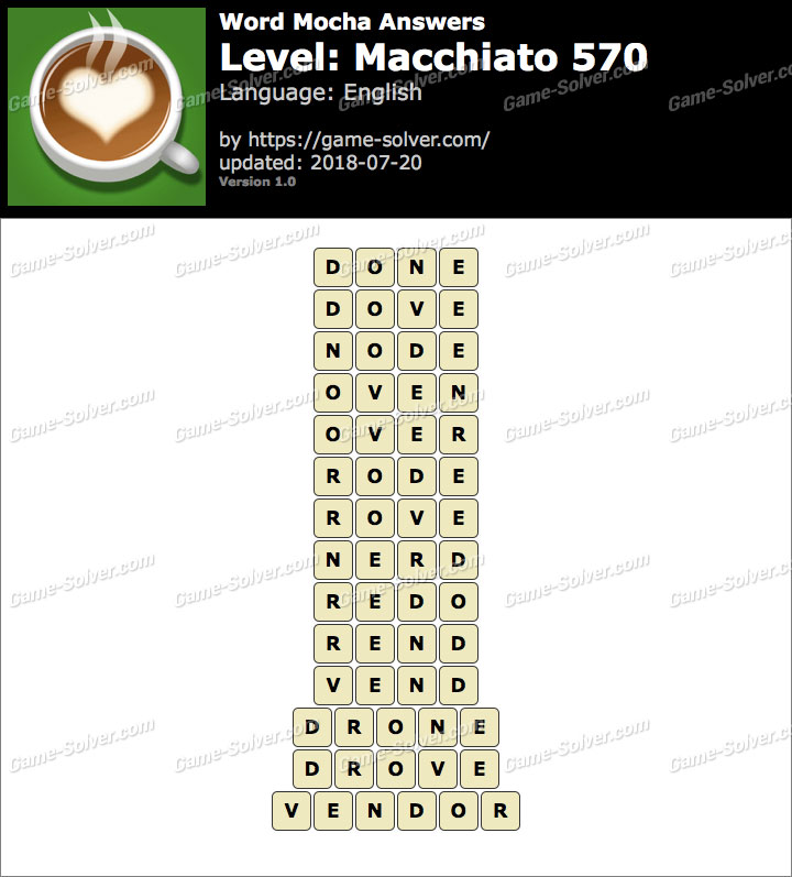 Word Mocha Macchiato 570 Answers
