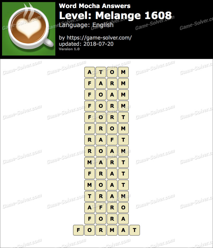 Word Mocha Melange 1608 Answers