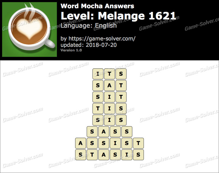 Word Mocha Melange 1621 Answers