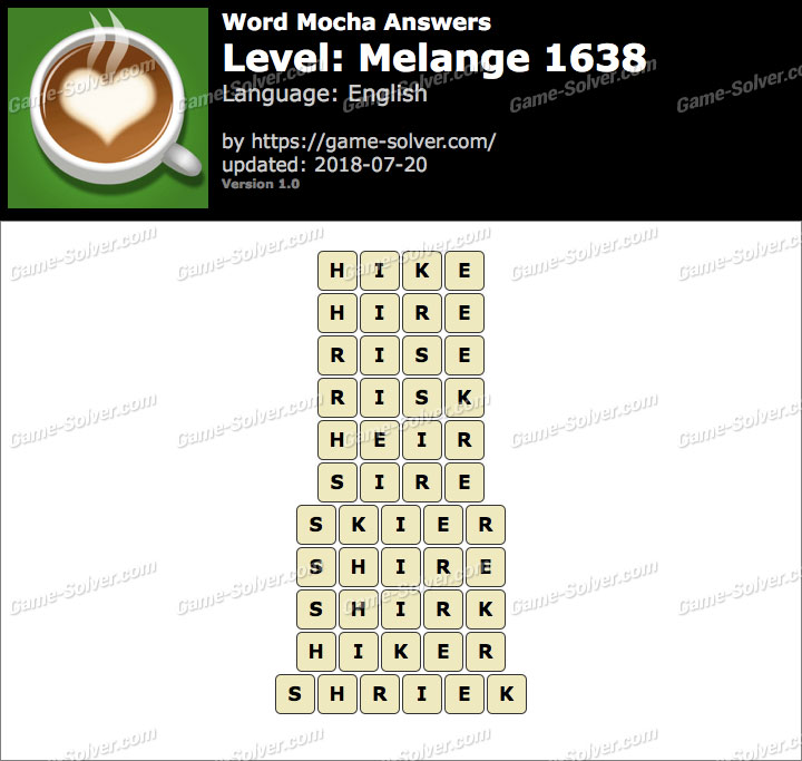 Word Mocha Melange 1638 Answers