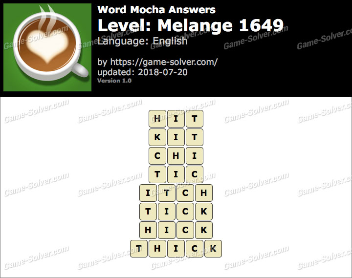 Word Mocha Melange 1649 Answers