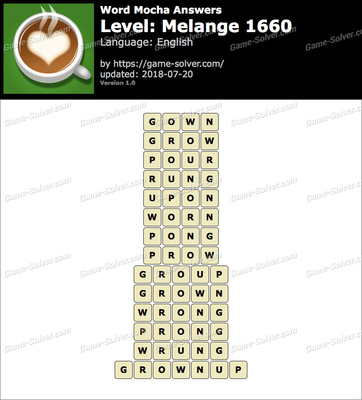 Word Mocha Melange 1660 Answers
