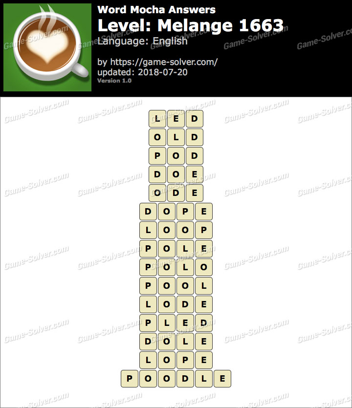 Word Mocha Melange 1663 Answers
