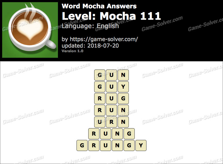 Word Mocha Mocha 111 Answers
