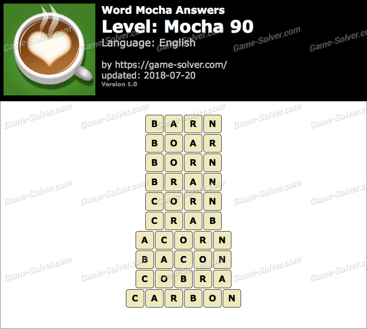 Word Mocha Mocha 90 Answers