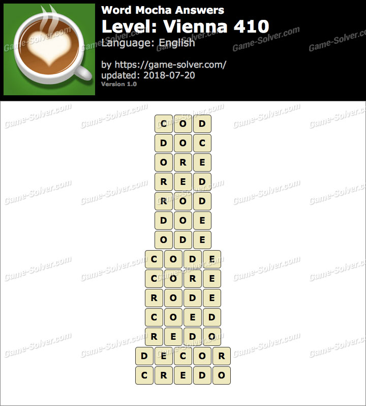 Word Mocha Vienna 410 Answers