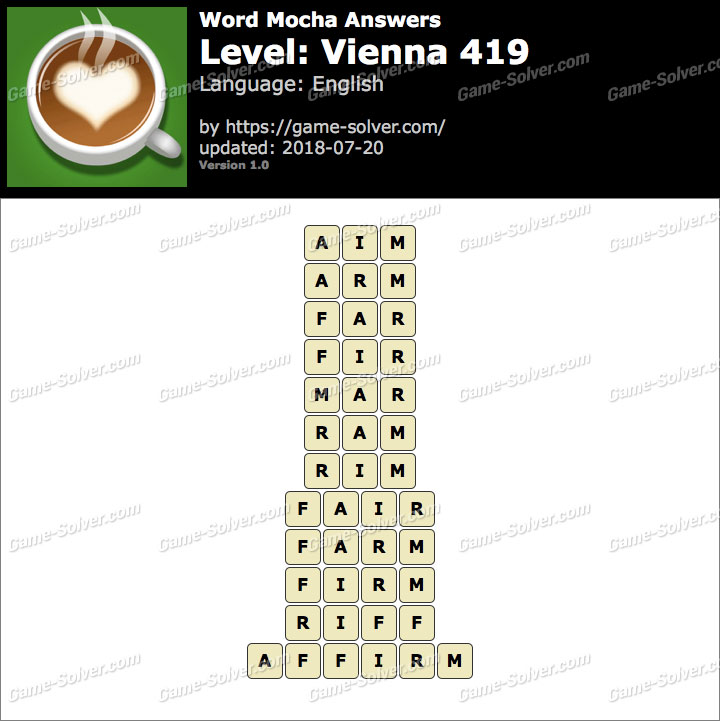 Word Mocha Vienna 419 Answers