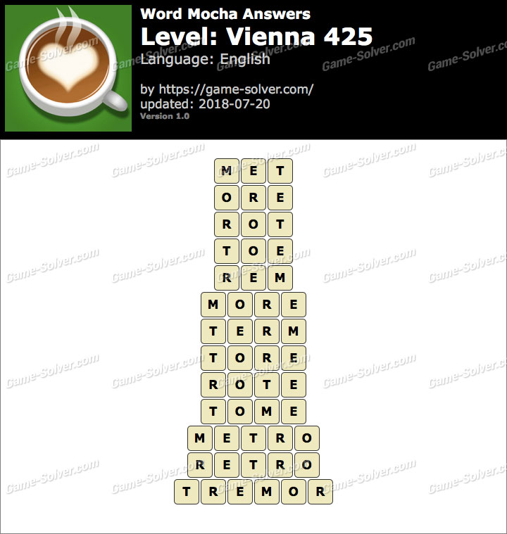Word Mocha Vienna 425 Answers