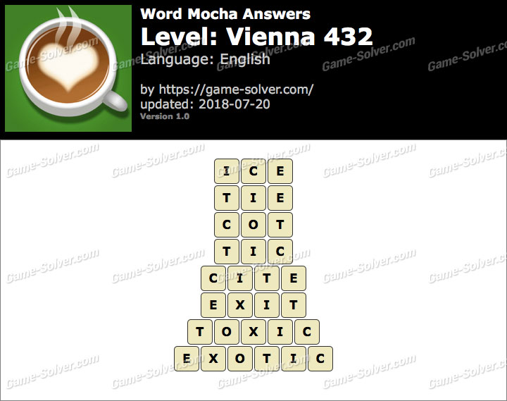 Word Mocha Vienna 432 Answers