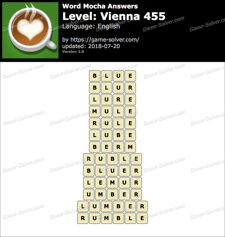 Word Mocha Vienna 455 Answers