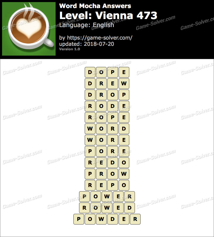 Word Mocha Vienna 473 Answers